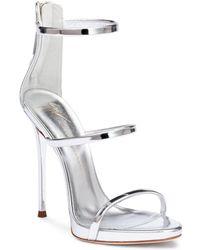 Giuseppe Zanotti - Harmony 120 Silver Metallic Leather Sandals - Lyst