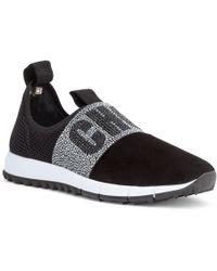 Jimmy Choo - Oakland Black Suede Crystal Logo Sneakers - Lyst