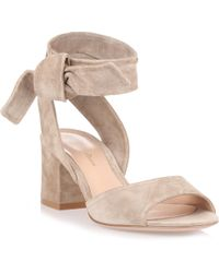 Gianvito Rossi - Nika 60 Light Sand Suede Sandal - Lyst