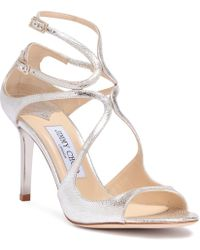 Jimmy Choo - Ivette 85 Champagne Glitter Leather Sandals - Lyst