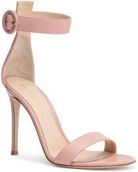 Gianvito Rossi - Portofino 105 Dusty Pink Leather Sandals - Lyst