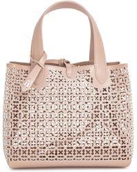 Alaïa - Frida Mini Blush And White Laser-cut Bag - Lyst