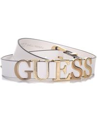 Guess - Belt Logo In Metal Gold Colour - Lyst