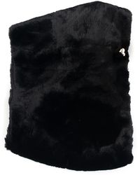 Guess Faux Fur Collar Black Acrylic