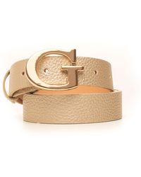 Guess Printed Buckle Belt With Logo Detail Gold Polyurethane - Metallic