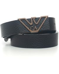 Emporio Armani Thin Belt In Leather Black Polyester