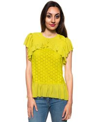 Guess - Blouse With Frills - Lyst