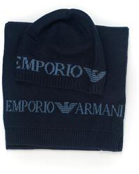 Emporio Armani Set Sciarpa e Cappello Blu Viscosa