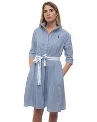 U.S. POLO ASSN. Chemisier Dress Azure Cotton - Blue