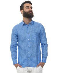 Vincenzo De Lauziers Long-sleeved Linen Shirt Azure Linen - Blue