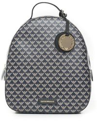 Emporio Armani Logo Print Backpack - Blue