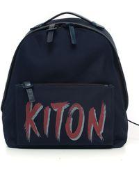 Kiton Zaino di pelle e cordura Blu Nylon