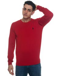 U.S. POLO ASSN. Istitutional Knit Round-neck Pullover - Red