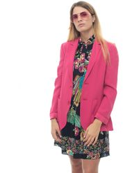 RED Valentino Jacket With 2 Buttons Fuchsia Acetate - Pink