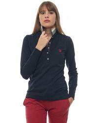 U.S. POLO ASSN. Polo Shirt Long Sleeves Blue Cotton