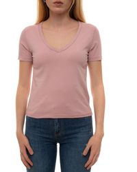 Roy Rogers V-necked T-shirt Pink Cotton