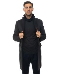 Angelo Nardelli Coat With 3 Buttons Charcoal Wool - Grey