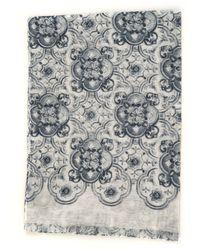 Canali Pashmina Scarf Grey Cotton