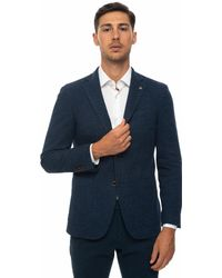 Angelo Nardelli Unlined Blazer With 2 Buttons Denim Wool - Blue