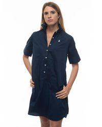 U.S. POLO ASSN. Cotton Shirtwaister-dress Blue Cotton