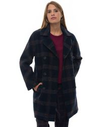 Pennyblack Rafia Double-breasted Coat Blu/fucsia Polyester - Blue