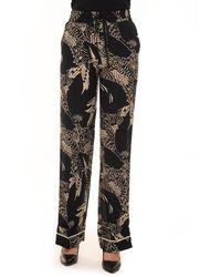 RED Valentino Soft Pants Nero/bianco Silk - Black