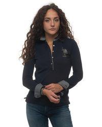 U.S. POLO ASSN. Polo Shirt In Cotton Piquet Blue Cotton