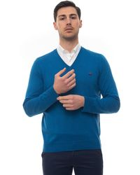 Brooks Brothers V-neck Pullover Blue Cotton