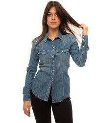 Guess Camicia da donna in jeans Denim medio Cotone - Blu