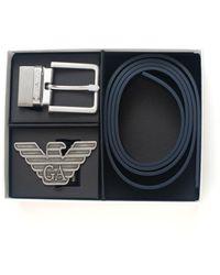Emporio Armani Gift box con cintura reversibile in pelle stampa saffiano e fibbia intercambiabile - Blu