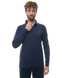GANT Polo Shirt Long Sleeves Blue Cotton