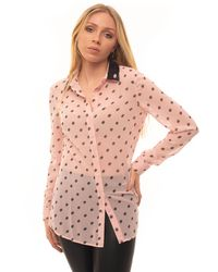 Guess Camicia Stampa All Over Blouse Rosa/nero Polyester - Pink