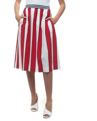 Woolrich Long Flared Skirt Rosso/bianco Viscose