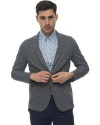 Angelo Nardelli Jacket With 2 Buttons Blue Cotton