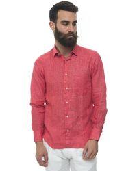 Vincenzo De Lauziers Long-sleeved Linen Shirt Red Linen