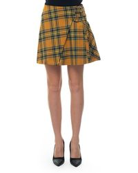 Guess Pleated Skirt Giallo/blu Polyester - Yellow