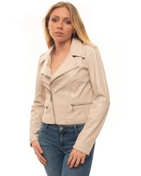 Guess Faux Leather Jacket Beige Polyurethane - Natural