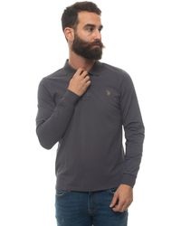 U.S. POLO ASSN. Polo Shirt Long Sleeves Charcoal Cotton - Grey