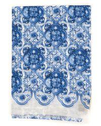 Canali Pashmina Scarf Azure Cotton - Blue
