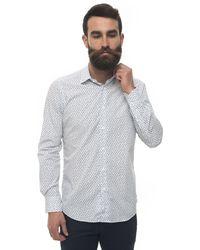 Carrel Casual Shirt Bianco/blu Cotton - White