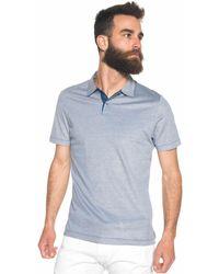 Canali Polo Shirt In Cotton Piquet Blue Cotton