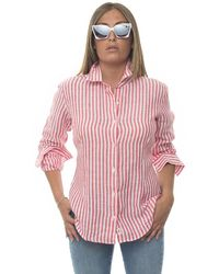 Vincenzo De Lauziers Long-sleeved Linen Shirt Bianco/rosso Linen - Red