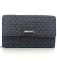Emporio Armani Clutch With Logo Black Leather