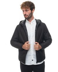Fay Hooded Harrington Jacket Black Polyester