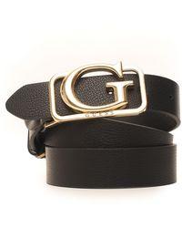 Guess Adjustble Buckle Belt With Logo Detail Black Polyurethane
