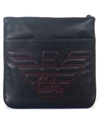 Emporio Armani Borsello Messenger Bag Nero/rosso Poliestere - Blu