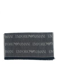 Emporio Armani Sciarpa in misto lana con logo jacquard - Multicolore