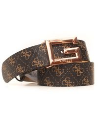 Guess Brightside Buckle Belt With Logo Detail Brown Polyurethane
