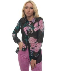 Guess - Fantasy Blouse Nero/fucsia Polyester - Lyst