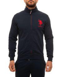 U.S. POLO ASSN. Sweatshirt With Zip Blu/rosso Cotton - Blue